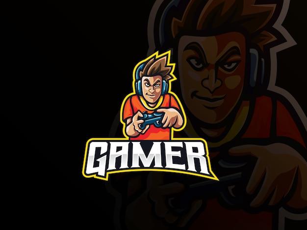 ゲーマーマスコットスポーツロゴデザイン Premiumベクター