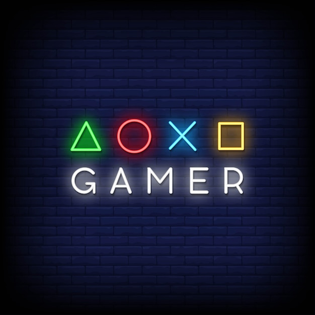 Gamer neon signs style text Premium Vector