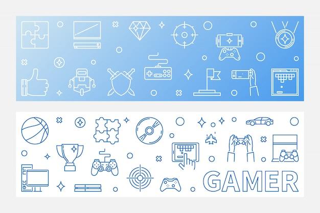ゲーマーアウトライン水平バナーセット Premiumベクター