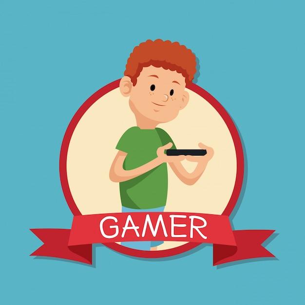 Игрок, играющий на мобильном графине с синим backgroung Premium векторы