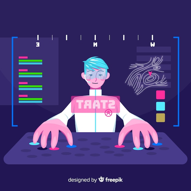 Gamer playing with the computer Free Vector
