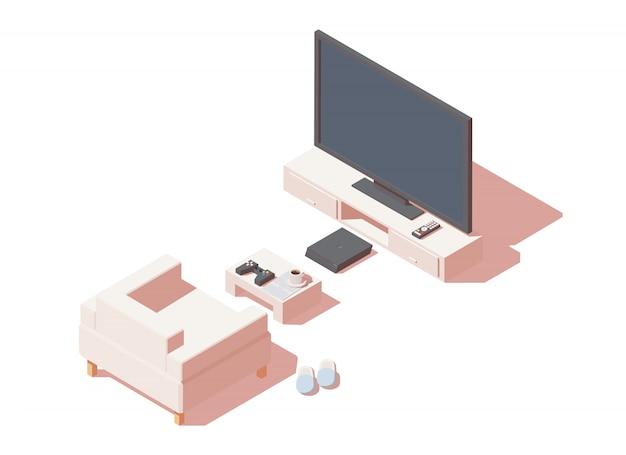 ゲーム機とテレビを備えたゲーマーシート。 Premiumベクター