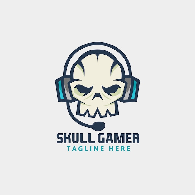 Gamer skull with headphone logo Vector | Premium Download