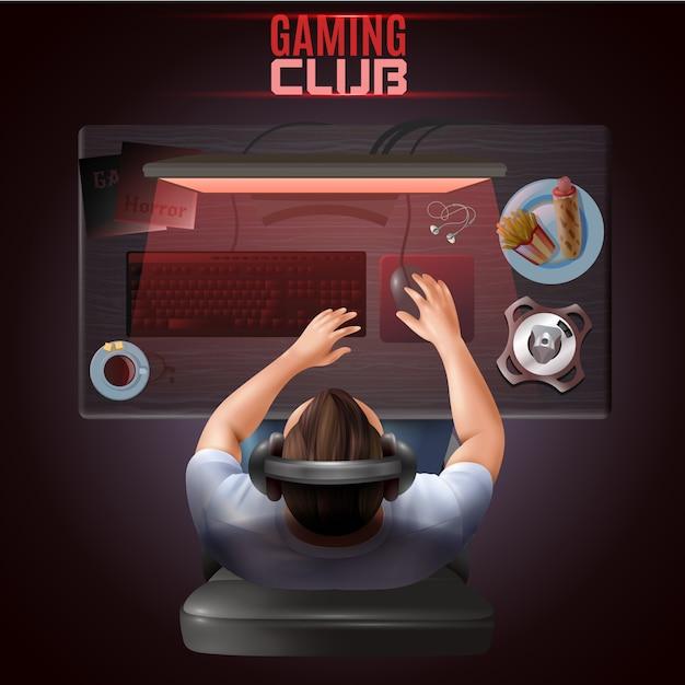 Gamer top view иллюстрация Бесплатные векторы