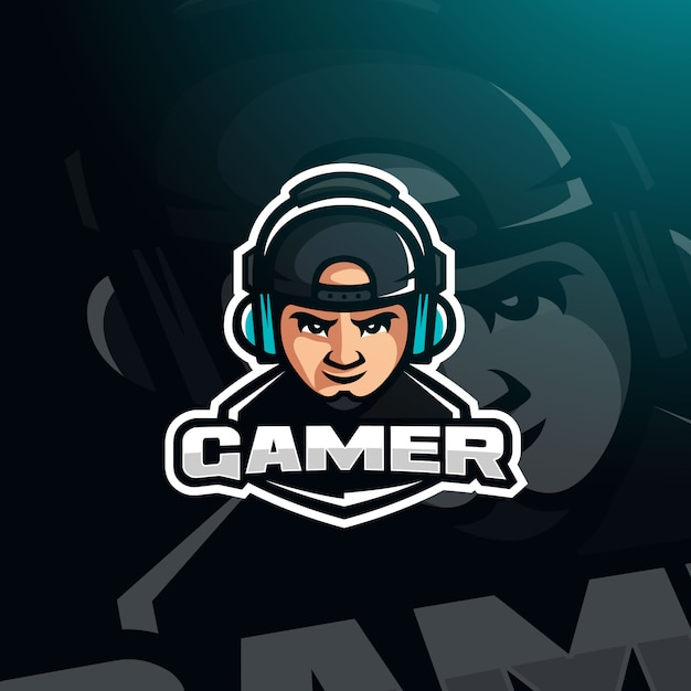 Gamer youtuber gaming avatar with headphones for esport logo Premium Vector