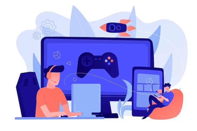 Геймеры играют в видеоигры на разных аппаратных платформах. кросс-платформенная игра, кроссплатформенная игра и концепция кроссплатформенных игр Бесплатные векторы
