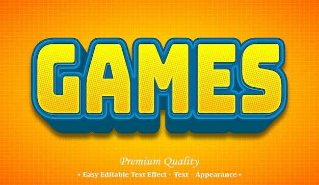 Games 3d editable text style effect Premium Vector