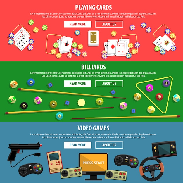 Games banners set Free Vector