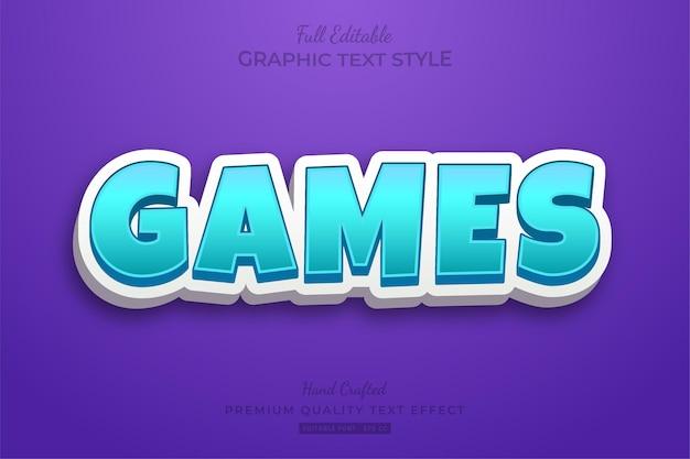게임 만화 편집 가능한 텍스트 효과 글꼴 스타일 프리미엄 벡터