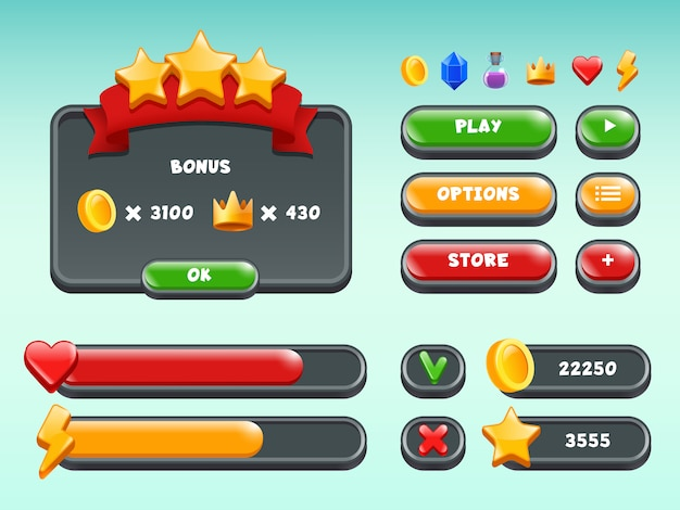 Games gui set, mobile gaming user interface icons and items colored button status bar ribbons casual build Premium Vector