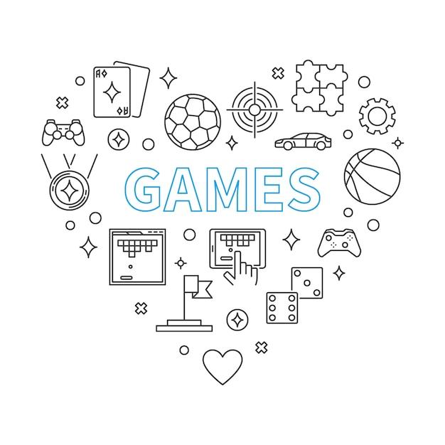 Игры сердце наброски иллюстрации Premium векторы