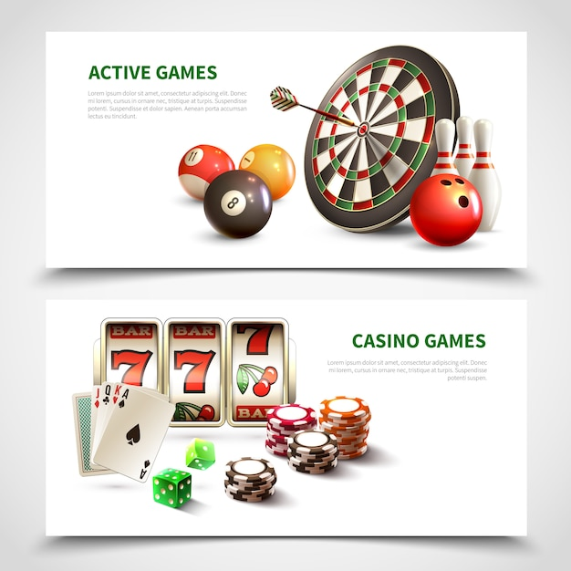 Games realistic banner set Free Vector