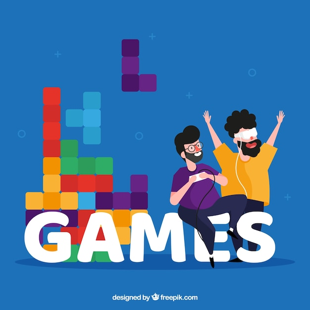 Games word concept Free Vector
