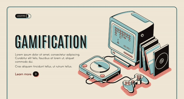 Gamification banner, gamer console for playing, retro video