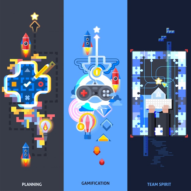 Gamification elements flat banners set Free Vector