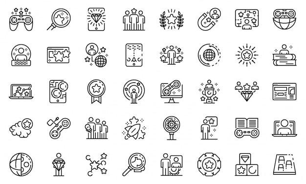 Набор иконок для геймификации, стиль контура Premium векторы