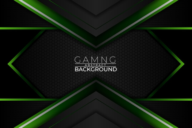 Gaming abstract background dark green style Premium Vector