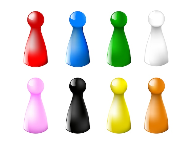 Gaming chips counter colored set on a white background.  illustration Premium Vector