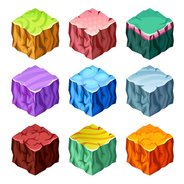 Gaming cubes landscape elements isometric set Free Vector