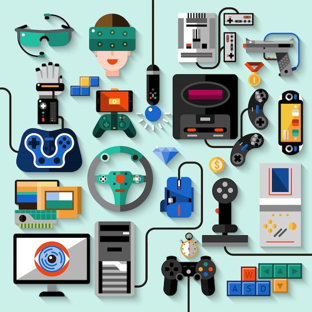 Gaming gadgets set Free Vector