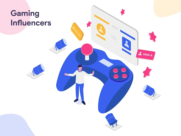 Gaming influencers  isometric illustration Premium Vector