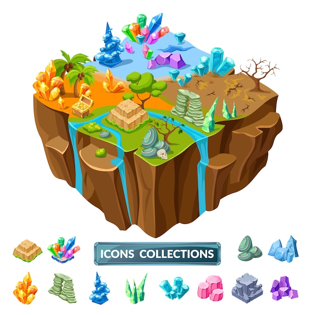 Gaming island and stones isometric icons Free Vector