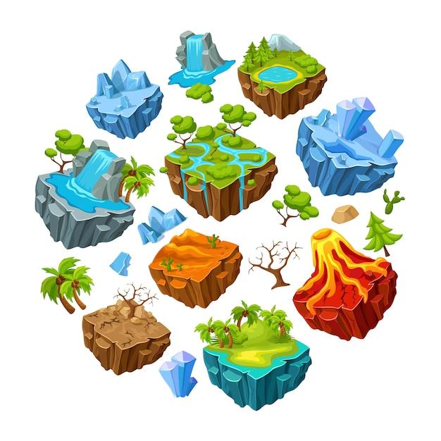 ゲームの島と景観要素セット 無料ベクター