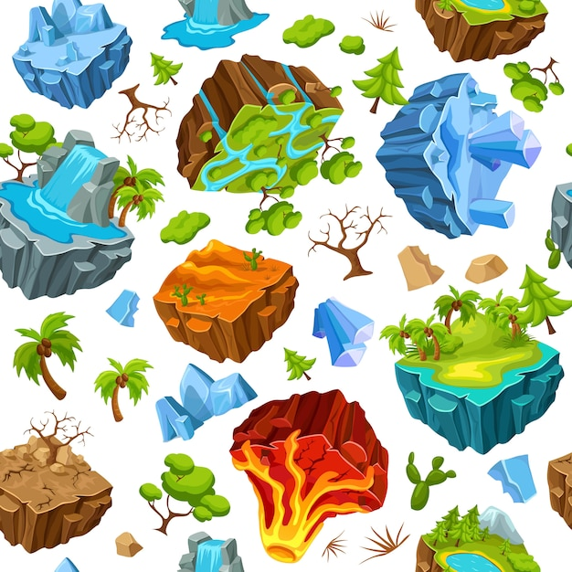 Gaming islands and nature elements pattern Premium Vector