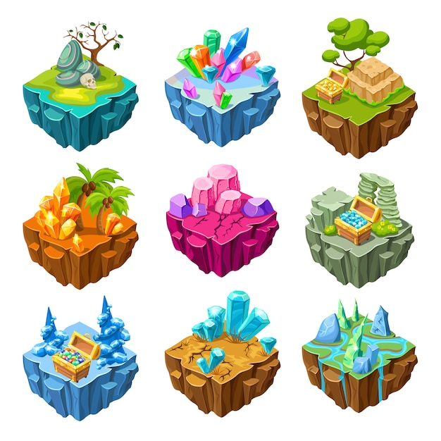 Gaming islands with stones isometric set Free Vector