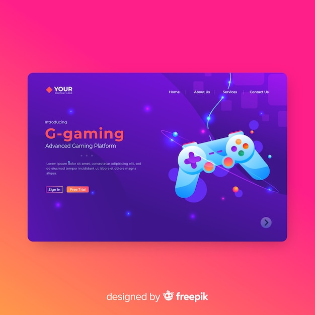 Gaming landing page template Free Vector
