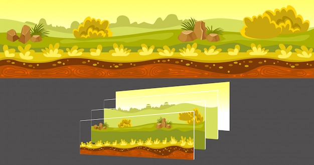 Gaming landscape with separated layers Free Vector