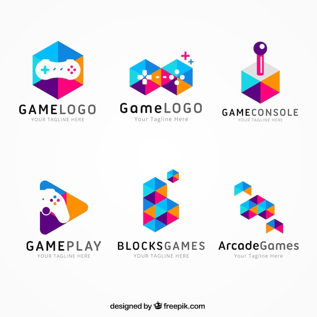 Gaming logo collection with flat design Free Vector