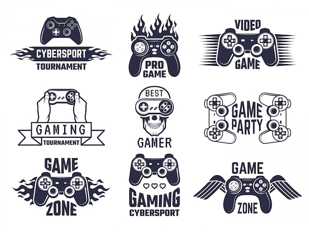 Gaming logo set. video games and cyber sport labels Premium Vector