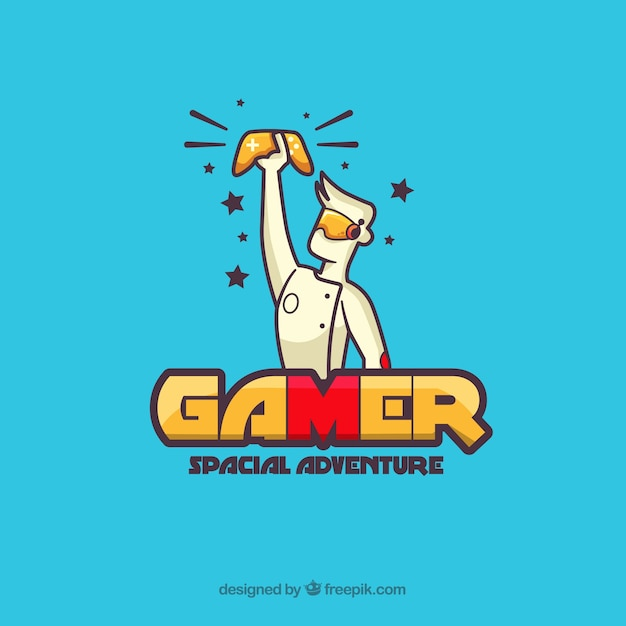 Gaming logo with boy and console Premium Vector