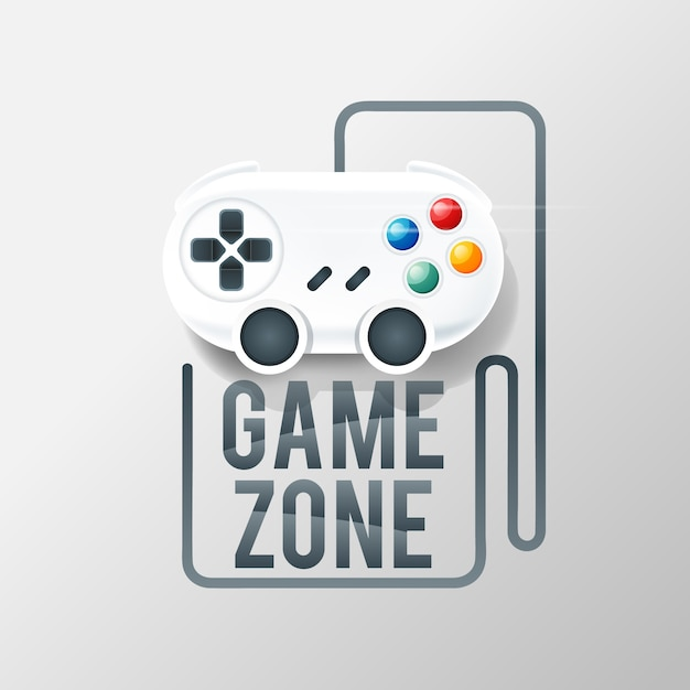 Gaming logo with console Free Vector