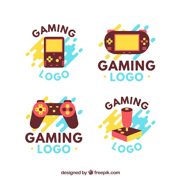 Gaming logos collection in flat style Free Vector