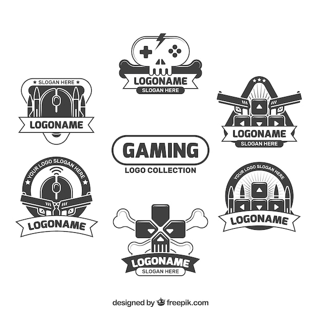 Gaming logos collection Free Vector