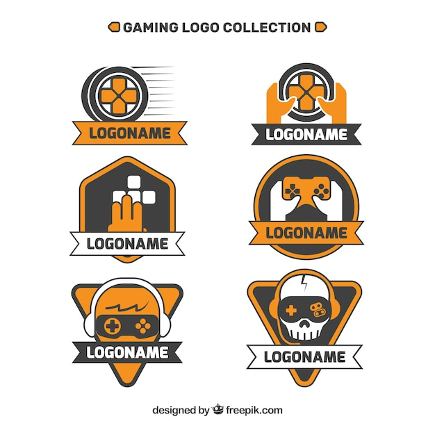 Gaming logos collection Free Vector