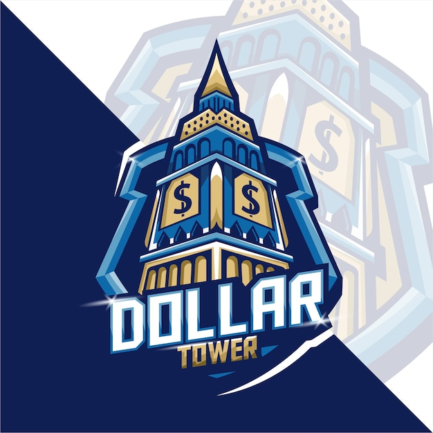 Gaming mascot logo dollar tower Premium Vector