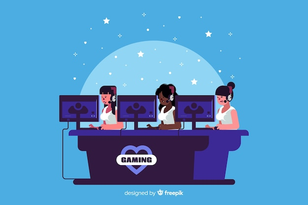 Gaming team playing with the computer Free Vector