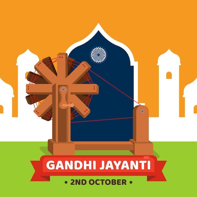 Gandhi jayanti illustration Free Vector