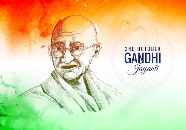 Gandhi jayanti is a national festival celebrated, 2nd october Free Vector