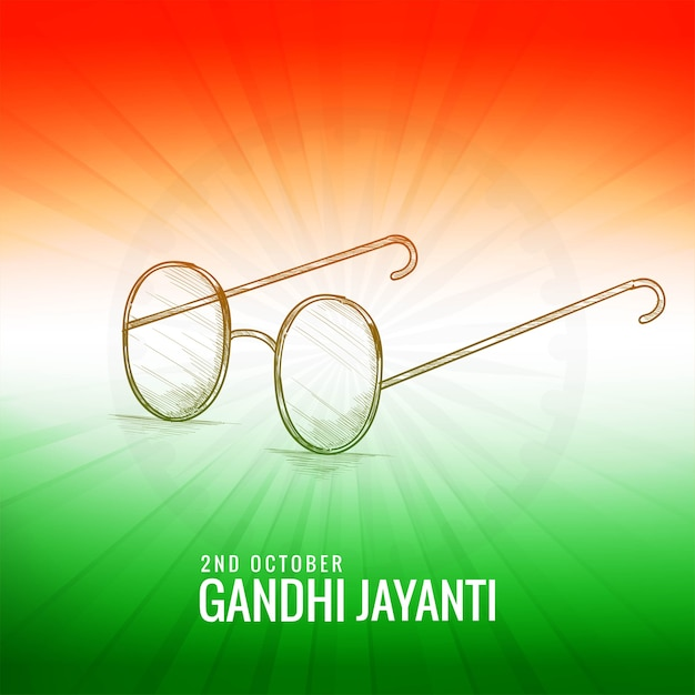Gandhi jayanti with sketch spectacles indian color theme Free Vector