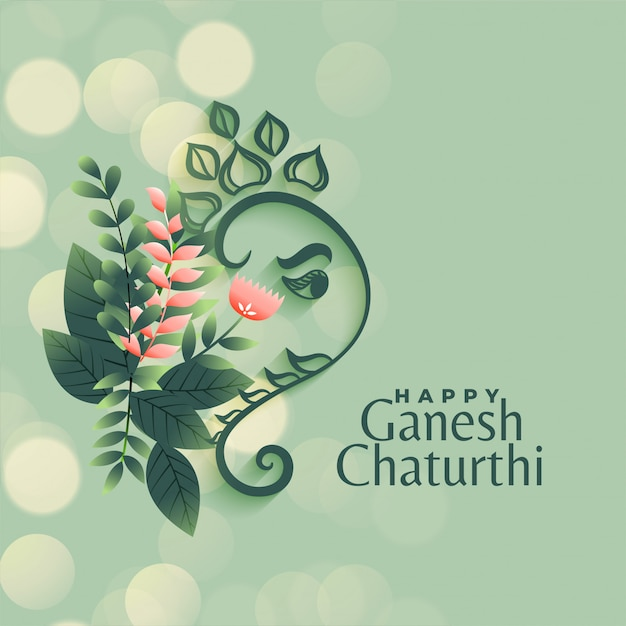 Ganesh chaturthi festival greeting in flower style background Free Vector