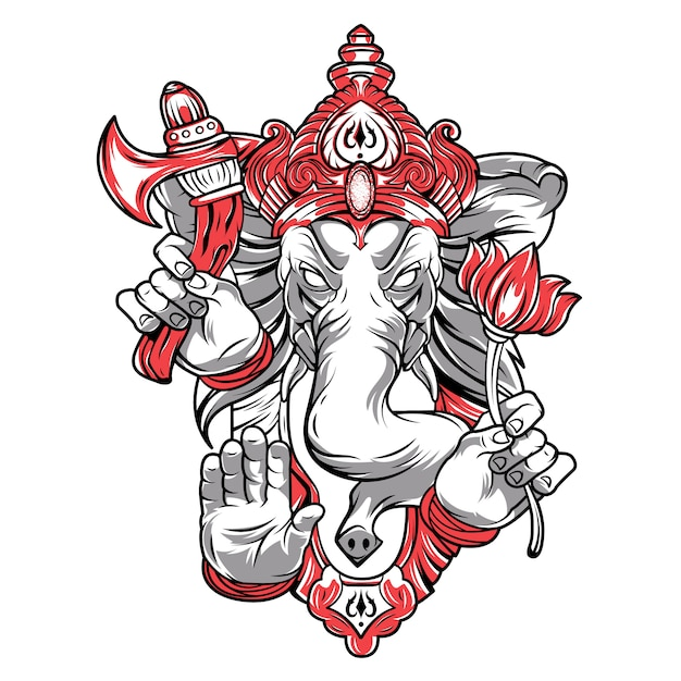 Ganesh is a god. the head of an elephant. Premium Vector