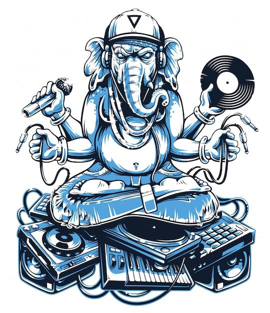 Ганеша музыкальное искусство Premium векторы