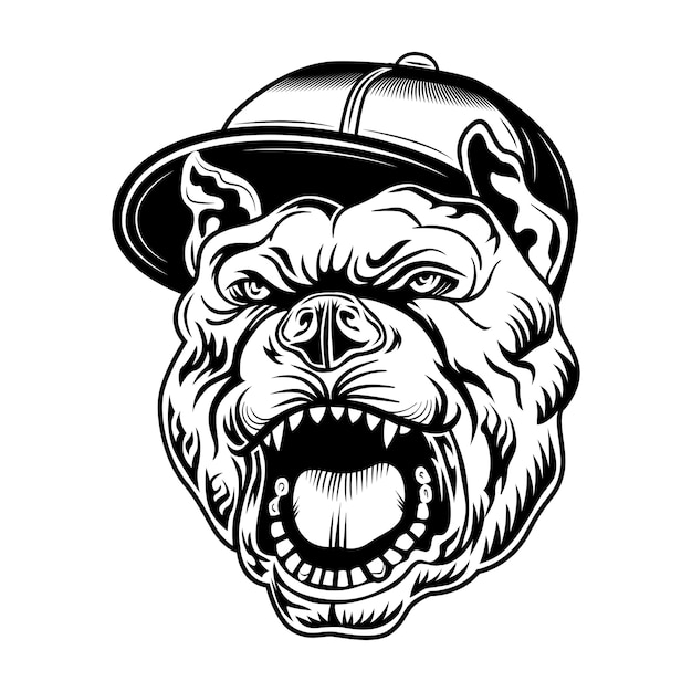 Gangsta bulldog vector illustration. head of aggressive dog in gangsters cap Free Vector