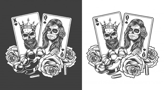Gangsta concept with playing card Free Vector