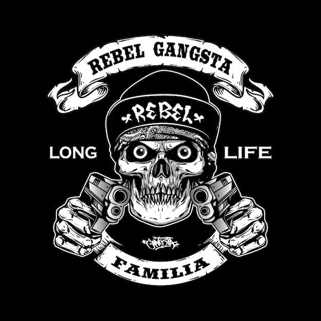 gangsta skull holding guns vector premium download