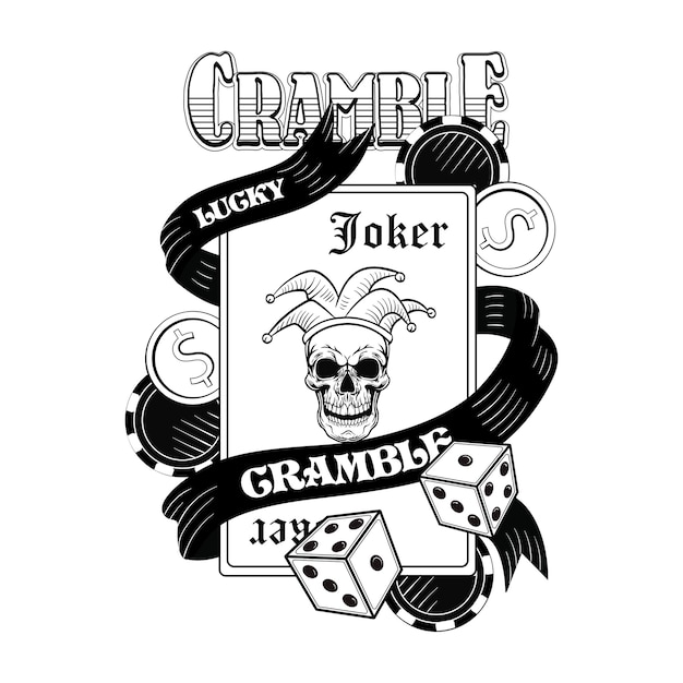 Gangster casino skull flat image. vintage logotype with playing cards, joker, hat, money, dice Free Vector